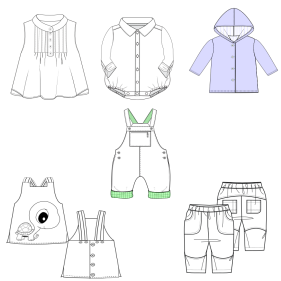 Dressmaking patterns for professionals Vector drawing BABIES Accessories