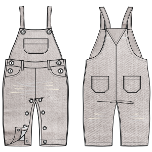 All our patterns have been tested and they are prepared for garments production Dungarees 623 BABIES One-Piece